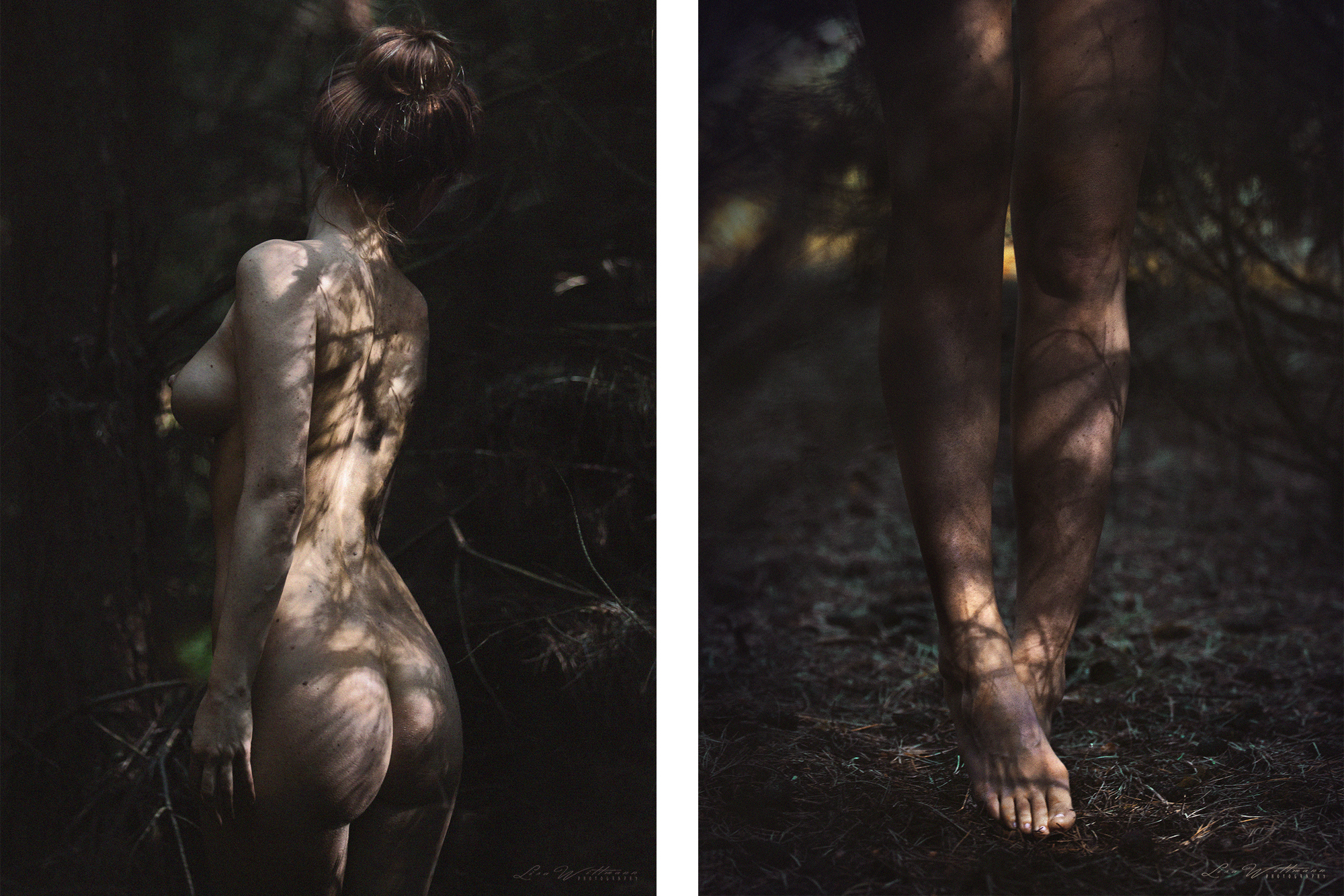 lisa_wittmann_photography_canon_forest_conifer_foot_sun_light_shadow_nude_legs_beautiful_woman_model_sensual_body_female_breast_stomach_legs_feet_steps